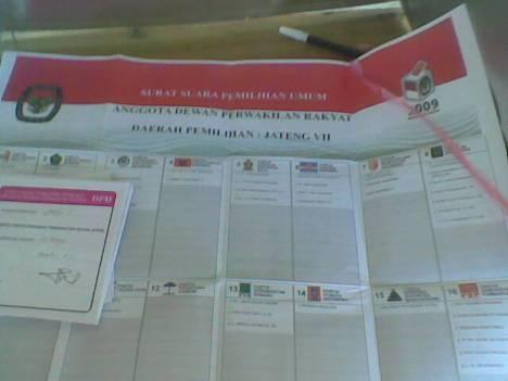 Surat Suara Pemilu Legislatif 09 April 2009